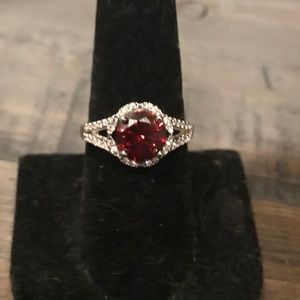 New Fragrant Jewels  silver and garnet ring size 7